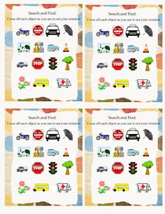ROAD TRIP CARDS: Search and Find Printables.  (Added)