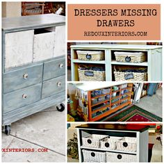 How to upcycle and repurpose Dressers that are missing Drawers using 100% Natural CeCe Caldwell's Paints.  REDOUXINTERIORS.COM FACEBOOK: REDOUX INSTAGRAM: REDOUXINTERIORS
