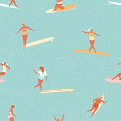 Girl surfer in bikini seamless pattern in vector. Flat style illustration. Summer beach surfing illustration in Miami art deco style. http://www.shutterstock.com/pic.mhtml?id=518211913