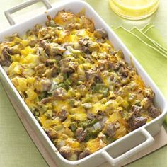 Easy Breakfast Strata Recipe...I would substitute the sausage with ham and the green pepper with mushroom. YUM!