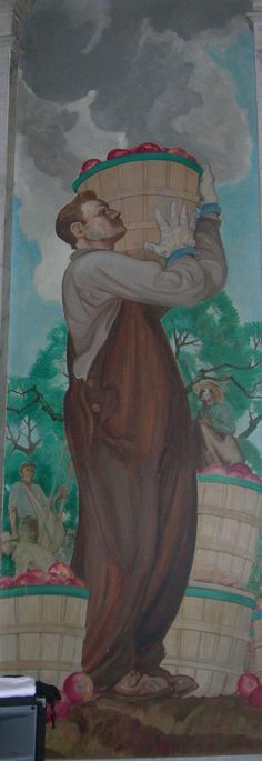 wpa mural - Spring and Summer painted by William D White in 1937: