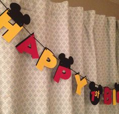 Mickey Mouse Birthday Banner by ParadiseParties on Etsy https://www.etsy.com/listing/111507190/mickey-mouse-birthday-banner