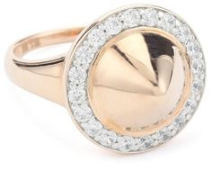 Nicky Hilton Silver With 18k Gold Wash Domed Spike Ring, 7,