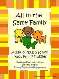 FREE puzzles for addition and subtraction fact families - great for your math tubs!