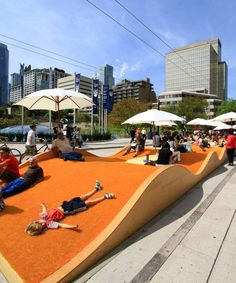 This Summer, downtown Vancouver was spiced up by Picnurbia, a big yellow wave that offered Vancouverites a great place for relaxation on the street. Created by design collective Loose Affiliates and endorsed by the City of Vancouver, the temporary landscaping project aims to address the shortage of decent public spots for urbanites to gather, relax and picnic.    Read more: http://popupcity.net/2011/09/picnurbia-an-urban-picnic-landscape/#ixzz1wSCWDxp2