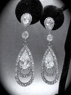 Rhinestone earrings - Long - Cubic Zirconia - Sterling Silver ear wires - Bridal Jewelry - Bridesmaids - gift -Prom - via Etsy Prom Earrings, Bride Earrings, Prom Jewelry, Rhinestone Earrings, Wedding Earrings, Crystal Earrings, Wedding Jewelry, Chandelier Earrings, Geode Jewelry