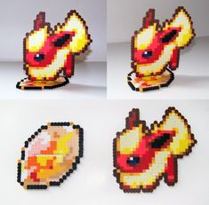 SOLD Perler Bead Flareon w/ Fire Stone Stand by NerdyNoodleLabs on deviantART