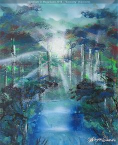 Forest serenity hope waterfall rays of light Flash Art, Buy Prints, Oeuvre D'art, Les Oeuvres, Serenity, Waterfall, Painting, Painting Art, Waterfalls