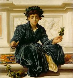 Weaving the wreath 1872.Lord Frederic Leighton (Great Britain, 1830-1896)