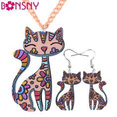 Bonsnyブランドアクリル声明猫ネックレスイヤリングジュエリーセットチョーカー襟ファッションジュエリー2016ニュース女性ガールギフト