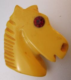$125.00 Bakelite Horse Head Hand Carved Brooch Vintage Jewelry Jewellery by BrightEyesTreasures on Etsy