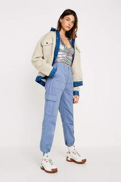Check out UO Authentic Slate Blue Cargo Trousers from Urban Outfitters Blue Pants Outfit, Cargo Pants Outfit, Trouser Outfits, Urban Outfitters Online, Urban Outfitters Women, Blue Cargo Pants, Pantalon Cargo, Checked Trousers, Retro Outfits