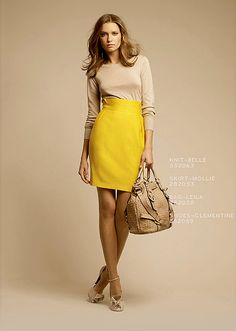 yellow pencil skirt and nude sweater... Pinterest has helped me realize how much I love yellow skirts.