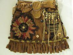 awesome brown bag, OOAK, fringed, DIY bag, embellished bag, brown purse, ---B  A