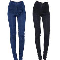 2016 אופנה חדשה ג 'ינס גבוהים מותניים מכנסיים עיפרון נשים ג' ינס מכנסיים סקיני ג 'ינס מכנסיים Fit ליידי סקסית רזה אלסטי בתוספת גודל