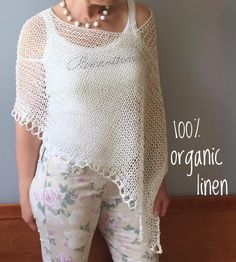 Hand knitted organic linen poncho, Summer white linen poncho