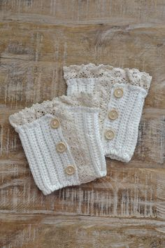 Even boots need accessories! - White boot cuffs with an off-white lace trim and wooden buttons. - Look best with medium and tall boots. - 100% acrylic. Sirena Style Tip: Not only are these super cute,