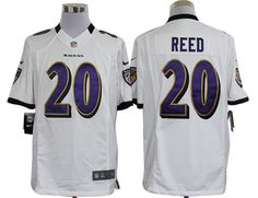 Baltimore Ravens #20 Ed Reed White Limited Jerseys