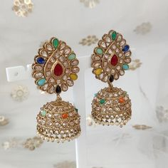 Jhumki Earrings, Dangle Earrings, Antique Gold, Different Colors, Desi, Dangles, Beads, Antiques, Outfit
