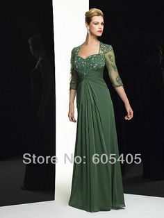 wholesale-2014 Custom Made Floor length a line chiffon dress mother of bride long lace Three quarter sleeve Evening Dresses