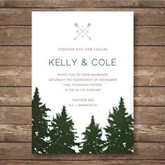Rustic Garden Lights Wedding Invitation Enchanted Forest Wedding