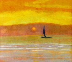 "Léon Spilliaert (Belgian, 1881-1946), Sailboat at Sunset, 1922. Watercolour and gouache on paper, 49 x 59 cm. """
