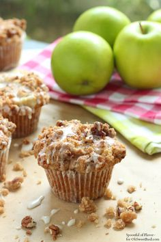 Apple Coffee Cake Muffins on Oh Sweet Basil