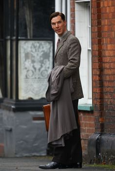 """As Alan Turing, filming """"The Imitation Game"""". Also known as the hot nerdy professor look I guess."""