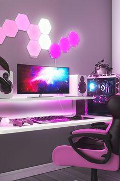 Best Gaming Setup, Gamer Setup, Gaming Room Setup, Pc Setup, Cool Gaming Setups, Cute Bedroom Decor, Bedroom Setup, Room Ideas Bedroom, Computer Gaming Room