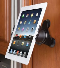 The Any Surface Magnetic iPad Mount - Hammacher Schlemmer. Perfect for when I'm cooking off a recipe on my iPad! Gadgets And Gizmos, Tech Gadgets, Cool Gadgets, Cooking Gadgets, Cool Technology, Technology Gadgets, Assistive Technology, Computer Technology, Radios