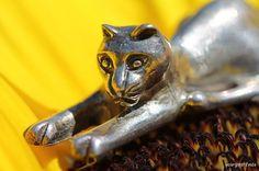 Vintage 925 Sterling Silver 3-D Cat Pin Brooch