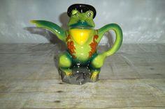 Frog Teapot Wood Potters Of Burslem Glazed Ceramic Hand Painted In England #WoodPottersOfBurslem