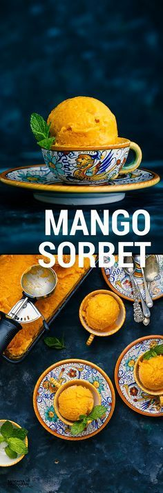 i Mango anything. Mango Sorbet is a luscious seasonal Frozen Dessert that can satisfy your craving in a Grueling Hot Weather. They make a great alternative to Ice creams and perfect for anyone with lactose intolerance.Good news is Its V-E-G-A-N ! Mango Sorbet, Sorbet Ice Cream, Vegan Ice Cream, Rasberry Sorbet, Frozen Desserts, Frozen Treats, Vegan Desserts, Delicious Desserts, Dessert Recipes