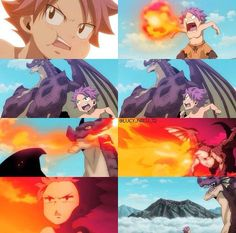 Fairy Tail || Natsu + Igneel // I miss Igneel, the flashback Natsu had when he was younger, showing how happy he was with Igneel.