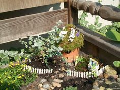 Fairy house made from pottery bird house