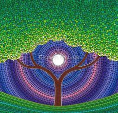 Art Print featuring Happy Tree of Life by Elspeth McLean Mandala Art, Mandala Painting, Dot Art Painting, Stone Painting, Painting Patterns, Elspeth Mclean, Life Poster, Canvas Prints, Art Prints