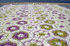 Afghan crocheted wool african flower motifs by CozyCappuccino, $520.00