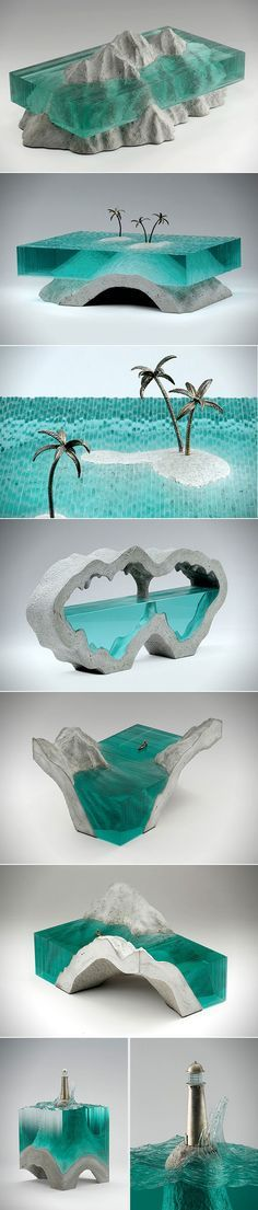 We've seen a lot of crazy things done with glass, but it's not everyday you come across something as impressive as what glass artist Ben Young has created.  Young recently shared a glimpse of his latest creations, each of which uses glass cut from window panes to form a body of water.