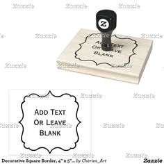 """Decorative Square Border, 4"""" x 5"""" Rubber Stamp. Handy dandy stamper for your handmade crafts that you sell. Type the text you want or leave blank! #cheriesartstamps #decorativeborders #stamping #stampers"""