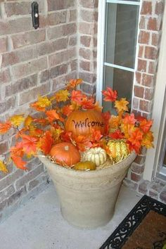 Fall front porch welcome by estela Autumn Decorating, Decorating Ideas, Decor Ideas, Fun Ideas, Front Porch Decorating For Fall, Front Porch Fall Decor, Porch Urns, Fall Yard Decor, Fall Planters