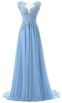 Blue Appliques Ruching Straps Chiffon Prom Dresses 2017