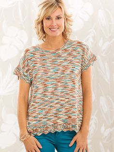 Living on the Edge -- Summer Swing Tee Design by Patty Lyons This easy-fit tee features lace edgings at the hem and sleeves. The simple shaping creates a faux reverse shirt-tail shaping without any of the work! Creative Knitting Summer 2016