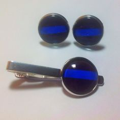 20mm #cufflinks #tie #clip #silver thin #blue line #police by #boloties #cuff #links #etsy @etsy #popular #jewelry #gift 4 #policeman