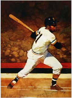 Roberto Clemente, oil on canvas 1989 painting by Bart Forbes. Baseball Series, Best Baseball Player, Baseball Season, Roberto Clemente, Pirates Baseball, Baseball Art, Rare Baseball Cards, Baseball Tattoos, Pirate Photo