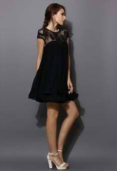 Beads Embellished Pleated Dolly Dress in Black - Retro, Indie and Unique Fashion