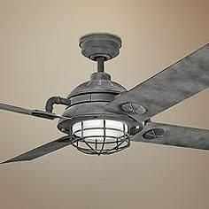The Maor LED Ceiling Fan Features Etched Cased Opal Glass Behind A  Industrial Look Cage And Has A Stylish, Industrial Feel Thatu0027s Perfect For  Modern Spaces.