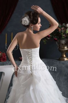 Drop Waist Wedding Dresses Sweetheart Chapel Train Organza Satin Ivory 010010702812