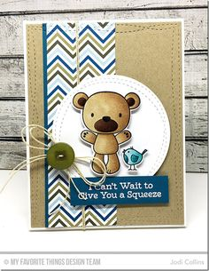 Friends Furever Stamp Set and Die-namics, Wonky Stitched Rectangle STAX Die-namics, Wonky Stitched Circle STAX Die-namics - Jodi Collins Miss You Cards, New Baby Cards, Mft Stamps, Cards For Friends, Winter Cards, Scrapbook Cards, Scrapbooking, Card Sketches, Copics