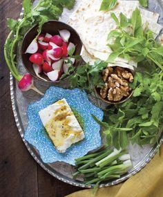 Four Nowruz (Persian New Year) Recipes: Fresh Herb Platter, Rice w/ Favas & Dill, Parvin's Tamarind Stuffed Fish, Herb Frittata w/ Walnuts & Rose Petals