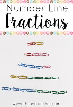 Colored paper clips for teaching number line fractions?  Teaching fractions on a number line in math can be engaging with these tips and ideas!  Check out these fun activities!